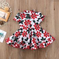 Pretty Kids Baby Girl Floral Short Sleeve Dress Princess Clothes Summer Sundress