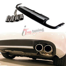 Rear Bumper Lip Diffuser + Tail Exhaust Tips Fit for Audi A4 B8 Non-Sline 09-12