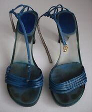 COLLECTORS/ VINTAGE CHRISTIAN DIOR LEATHER & PERSPEX BLUE STRAPPY SANDALS