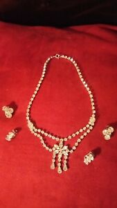 Vintage Faux Diamond Necklace and Earring Set