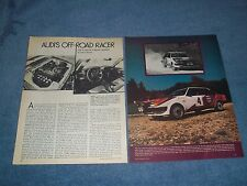"1979 Audi 80 4000 Factory Rally Race Car Vintage Article ""Audi's Off-Road Racer"""