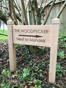 Oak direction Sign with Posts Carved Personalised Custom Engraved Wooden Plaque