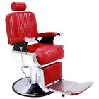Deluxe Heavy Reclining Hydraulic Barber Chair Hair Cut Salon Red Adjustable