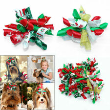 100/200pcs Christmas Dog Hair Bows with Rubber Bands Xmas Pet Grooming Topknot