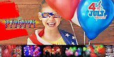 American Flag Fireworks 3D Glasses- Set Of 10 Unfolded New