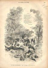 Pique-nique Herbe  Pic-nic piquenique Gastronome Gastronomie Août GRAVURE 1877