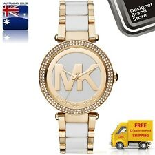 New Michael Kors Ladies Watch Parker Gold & White 2 Tone Mk Logo Glitz MK6313