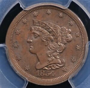 1854 BRAIDED HAIR HALF CENT PCGS MS 62 BN WELL STRUCK MAHOGANY WITH GREAT COLOR