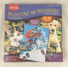 Reeves Painting By Numbers Gift Set, Paint Kitten Dolphins Puppy, New