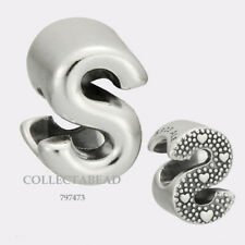 Authentic Pandora Sterling Silver Letter S Bead 797473