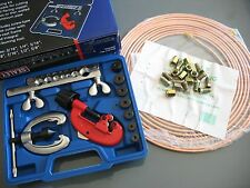 SEALEY BRAKE PIPE KIT FLARING AND CUTTING TOOL +  3/16 OD COPPER PIPE+ 20 NUTS
