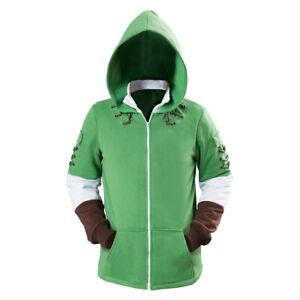 The Legend of Zelda Link Costume Cosplay Hoodie Sweatshirt  Zip Up Jacket Outfit