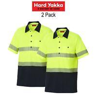 Mens Hard Yakka Koolgear Hi-Vis Short Sleeve Polo Light 2 PACK Work Shirt Y11383