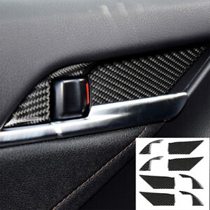 Real Carbon Fiber Inner Door Handle Bowl Trim Cover For Toyota Camry 2018-2019