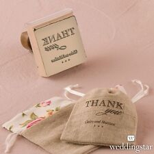 Personalized Burlap Chic Thank You Rubber Stamp Diy Wedding Favor Decoration
