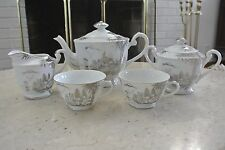 Kutani NS China Hand Painted Creamer, Sugar, Coffeepot and 2 Cups Silver Design
