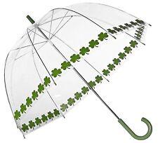 Green Shamrock CLOVER Trim Clear Dome See Through Bubble Umbrella