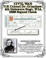 CIVIL WAR U.S. Colonel Dr. Grimshaw 4th Delaware Regt., WIA, 1869 Signed Check
