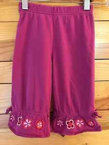 Hanna Andersson Girls Purple Pants with Flower Cuffs Size 80 18-24 Months