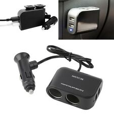 In-car PDA Power Supply 2 USB Ports & 2 Sockets Splitter 12V/24V Car Charger F7