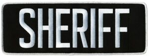 SHERIFF patches heat seal or sew on  in White  lettering