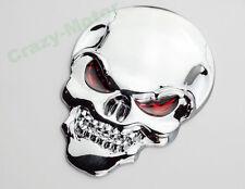 Honda Motorcycle Chrome 3D Metal Skull Gas Tank Fairing 3M Decal Sticker Emblem