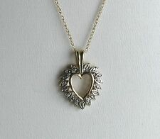 "10k YG Pave Open Heart Pendant w/Diamonds & 14K Gold Chain-18""--Free Shipping!"