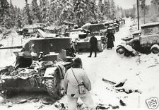 """Finnish Troops With Wrecked Russian Tanks 1940 World War 2, Reprint 6x4"""" Photo"""