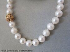 Echte Perlenkette 47cm Weiß Rund 9mm Magnetverschluss. Handarbeit TOP Geschenk