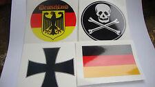 2 GERMAN FLAG STICKERS 2 MOTORBIKE HELMET DECALS IOM TT DEUTSCHLAND YAMAHA HONDA