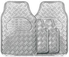 Metallic Silver Heavy Duty Checker Plate Rubber Interior Car Floor Mats Set