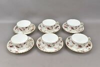 Minton England Ancestral Scalloped Tea Cup & Saucer Set S-376 Pink Blue Flowers