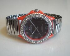 Women Orange/Silver Stretch Band Rhinestone Numbers Fashion Dressy/Casual Watch