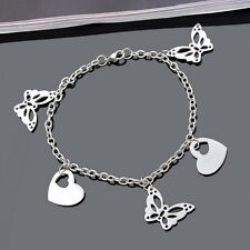1PC 22cm Women Stainless Steel Silver Chain Bracelet With Heart Butterfly Charm