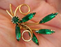 Vintage Green Emerald Rhinestone Brooch Pin