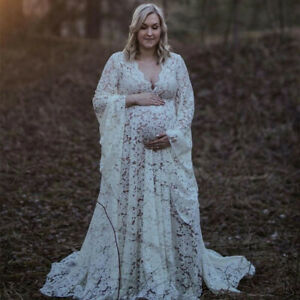 Boho Style Lace Maternity Dress For Photography Maternity Outfit Maxi Gown Dress