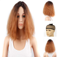 "12"" Short Orange With Black Curly Wave Synthetic Women Afro Lace front Wig UK"