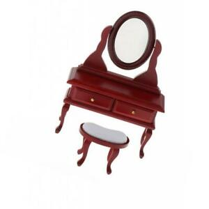 1:12 Dollhouse Miniature Retro Wooden Dressing Table Stool Bedroom Items