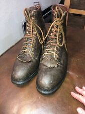 "MEN'S RED WING 8"" ANSI Z41 PT91 MI/75 C/75  Steel Toe Brown Boots US 10 Kiltie"