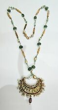 Vintage antique solid 20K Gold jewelry Basra pearl Emerald necklace pendant