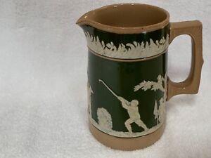 """Antique Copeland Late Spode Rare Golfers & Caddies pottery jug c 1900 5.25"""""""