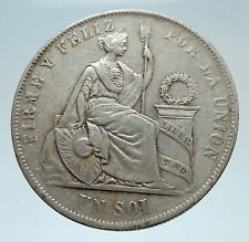 1869 Peru South America Liberty Antique Genuine Silver Sol Peruvian Coin i75304