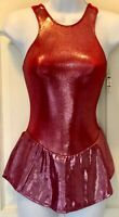 GK HALTER ICE SKATE ADULT SMALL RED TWILIGHT FOIL RED VELVET DRESS Sz AS NWT!