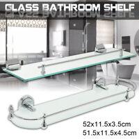 52CM Glass Bathroom Bath Storage Rectangle Ellipse Shelf Holder Rack Wall  -