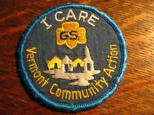 Girl Scout Jacket Patch - Vintage Vermont VT Community Action I Care GSA Badge