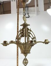 Antique Brass 5 Light Chandelier Ceiling Fixture   Good Condition