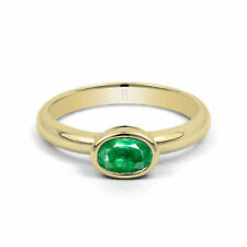 Emerald Solitaire Engagement Yellow Gold Fine Gemstone Rings