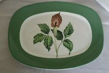 "Taylor Smith Taylor King O'Dell Platter Green Border Vintage 13 1/2"" x 10"""