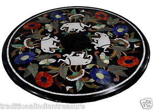 """36"""" Marble Dining Table Top Inlay Elephant Marquetry Handmade Living Room Decor"""