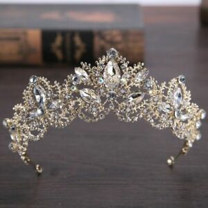 New Fashion Baroque Luxury Crystal AB Bridal Crown Tiaras Light Gold Diadem Hair